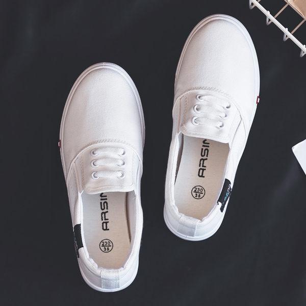 一腳蹬懶人鞋 2019夏季新款帆布鞋女韓版百搭一腳蹬小白鞋板鞋學生平底懶人布鞋 薇薇