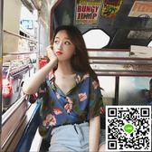 夏裝韓版寬鬆百搭復古印花短袖襯衫顯瘦休閒POLO領學生襯衣女上衣 年終狂歡