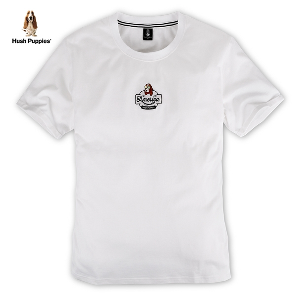 Hush Puppies T恤 男裝墨鏡刺繡狗休閒T恤