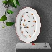 美式創意不規則13英寸橢圓魚盤蒸魚盤 深盤點心盤陶瓷餐具 家用微波爐 洗碗機可用【愛物及屋】