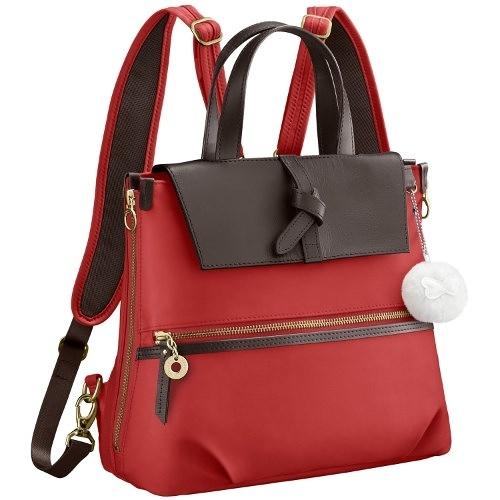 Kanana卡娜娜 多功能尼龍拼接皮革小型手提後背兩用包(珊瑚紅)241019-10
