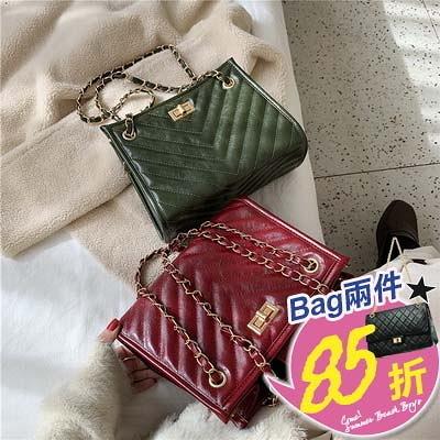 包任選2件85折手提包韓版摩登都市菱形紋鏈條小方包手提包【08G-T0327】