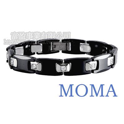 【MOMA】陶瓷鍺磁手鍊鑲鑽寬版-M62MD-最佳情人節禮