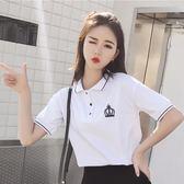 polo衫 純棉短袖女春夏韓版寬鬆學生polo衫百搭t恤白色翻領上衣