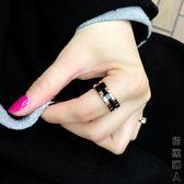 戒指版鈦鋼鍍玫瑰金帶鑚情侶男女款食指環戒子時尚百搭配飾品