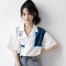 2021夏季新款短袖上衣女寬鬆設計感雪紡襯衫復古港風polo領襯衣潮 【端午節特惠】