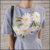 5天出貨★短袖洋裝 條紋刺繡連身裙★ifairies【45416】
