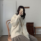 針織開衫 毛衣外套女秋冬寬鬆外穿2021年新款粗針麻花針織開衫慵懶風上衣厚 嬡孕哺