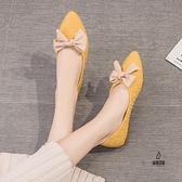 單鞋舒適平底鞋韓版溫柔鞋小香風豆豆鞋女淺口【愛物及屋】