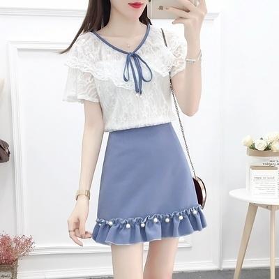 短袖套裝~2021夏季網紅套裝蕾絲衫釘珠木耳邊半身裙兩件套女H311-E胖妞衣櫥