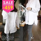 時尚純色寬鬆男友風後拉鏈襯衫(尺寸偏大請看尺寸表)  O-Ker LL83111-C