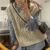 毛衣馬夾背心女秋季外搭韓版寬鬆無袖針織坎肩馬甲外穿 樂淘淘
