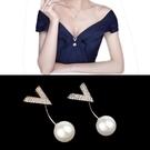 韓國簡約珍珠一字插針小胸針女外套別針扣襯衫扣 V領防走光扣配飾  茱莉亞
