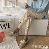 樂福鞋 毛毛鞋女冬外穿2021新款網紅羊羔毛一腳蹬樂福鞋時尚加絨豆豆鞋潮 非凡小鋪 新品