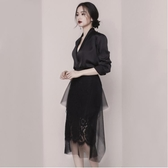 黑色小晚禮服2019新款女高端宴會氣質名媛生日派對洋裝平時可穿 全館免運快速出貨