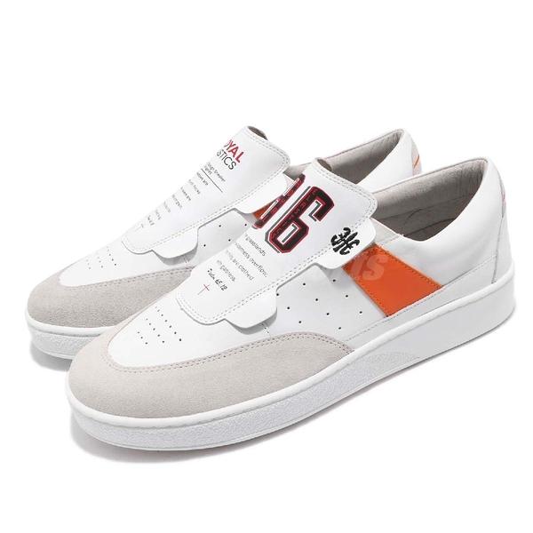 Royal Elastics 休閒鞋 Pastor 白 橘 質感皮革 無鞋帶設計 橡膠大底 男鞋【PUMP306】 01891002