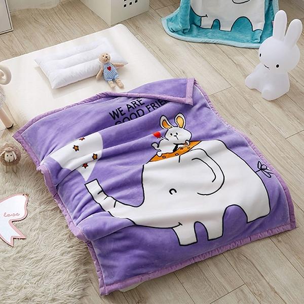 韓系可愛風 秋冬必備雙層加厚多功能法蘭絨雲毯 兒童毯《大象托兒所》