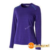 Wildland 荒野 0A52665-53紫色 女U領內刷毛時尚保暖上衣 內刷毛上衣/舒適保暖上衣/內搭印花上衣*