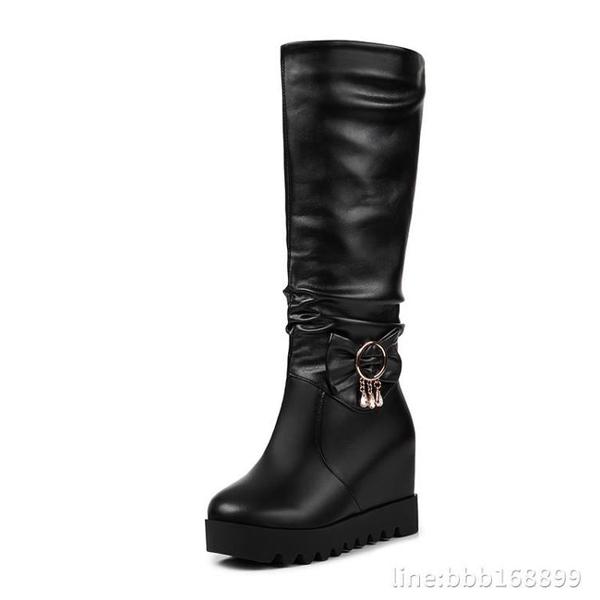 膝上靴 新款高跟鞋秋冬季高筒靴雪地靴子中筒靴女靴長筒靴內增高女鞋 城市科技