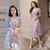 碎花洋裝 紫色碎花洋裝子法式復古夏長裙女2021新款方領泡泡袖赫本風桔梗