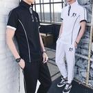 中大尺碼男運動套裝夏季休閒短袖潮流韓版t恤學生衣服搭配兩件套 FR8223『俏美人大尺碼』