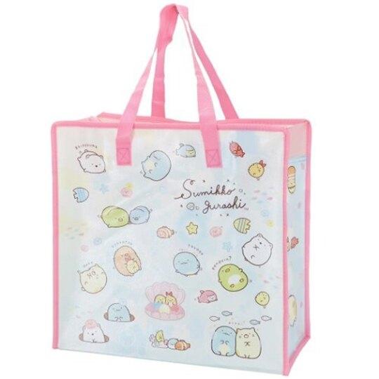 小禮堂 角落生物 方形防水購物袋 環保購物袋 衣物收納袋 側背袋 (粉藍 貝殼) 4930972-50230