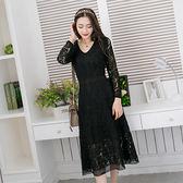 中大尺碼~時尚V領蕾絲長袖洋裝(XL)