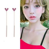 【NiNi Me】韓系耳環 氣質甜美愛心微鑲水鑽長款鏈條925銀針耳環  耳環 N0247
