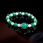 【喨喨飾品】綠玉髓/東菱手鍊 vs 純銀花蓋 綠色手鍊帶來吉祥與幸運。 A556