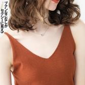 春夏季新品針織v領小吊帶無袖上衣性感背心女外穿短款內搭打底衫