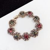 彩色水晶水鉆復古手鏈女韓版簡約個性大氣百搭手鐲手環閨蜜