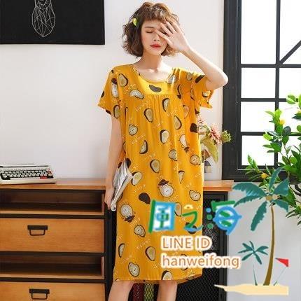 韓版加長款棉綢睡裙女士短袖加大碼睡衣夏季人造棉寬鬆舒適居家服【風之海】
