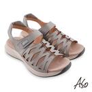 A.S.O 機能休閒 輕穩健康鞋牛皮網格休閒涼鞋 淺灰