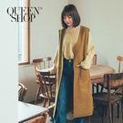 Queen Shop【02080049】基本素色毛呢長版背心外套 兩色售*現+預*