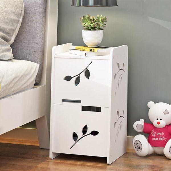 簡約床頭櫃歐式小櫃子簡易床邊儲物櫃組裝迷你經濟型臥室收納邊櫃【艾琦家居】