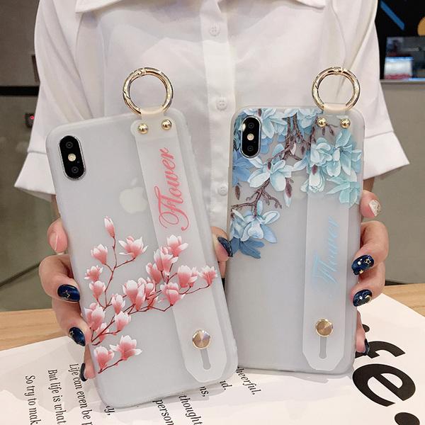 【SZ33】iphone 8 plus手機殼 日韓唯美花朵手腕帶 iphone XS max iphone11Promax xr xs手機殼
