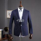 西裝外套男 尾單韓版修身西服男式兩粒扣休閒西裝格紋外套潮 俏腳丫
