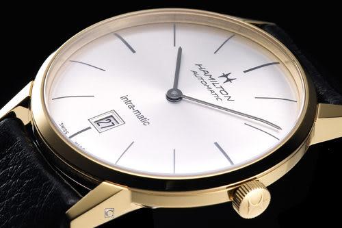 Hamilton Intra-Matic 優雅復刻機械腕錶(H38475751)金色殼 黑皮