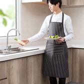 日本廚房做飯防油圍裙女士時尚炒菜圍腰家居布藝日式防水掛脖罩衣