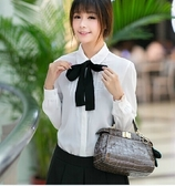 襯衫 蝴蝶結娃娃領白色長袖寬鬆大碼打底女襯衣短袖