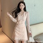 雪紡洋裝 2021春季新款韓版收腰顯瘦氣質網紗荷葉邊長袖仙女裙子 美眉新品