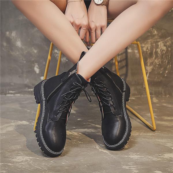 網紅帥氣馬丁靴英倫風2019百搭加絨女靴短靴秋冬季女鞋