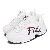 Fila 鋸齒鞋 Disruptor II Script US 白 藍 小白鞋 老爹鞋 韓妞必備 女鞋 復古運動鞋【PUMP306】 5C113T125