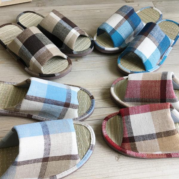 小日常-真草蓆室內拖鞋-英倫格紋-咖