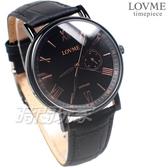 LOVME 羅馬時刻 風情城市 真皮腕錶 防水 藍寶石水晶 男錶 IP黑電鍍 VL0081M-33-341