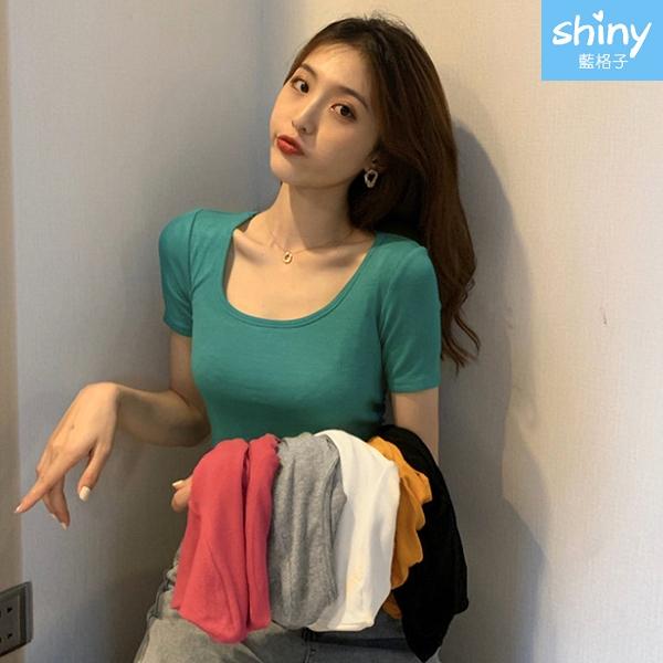 【V3337】shiny藍格子-夏日玩美.素色短版露肚短袖上衣