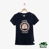 女裝ROOTS - 金屬動物圖樣短袖T恤-藍色