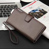 新款三折錢夾多功能手包手機包休閒男士商務錢包長款手拿包