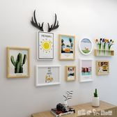 實木鐘錶照片墻裝飾創意個性現代簡約相框掛墻連體組合相片墻插畫 潔思米 IGO
