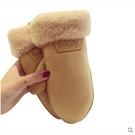 女冬麂皮絨保暖棉手套可愛學生戶外連指騎車掛繩包指